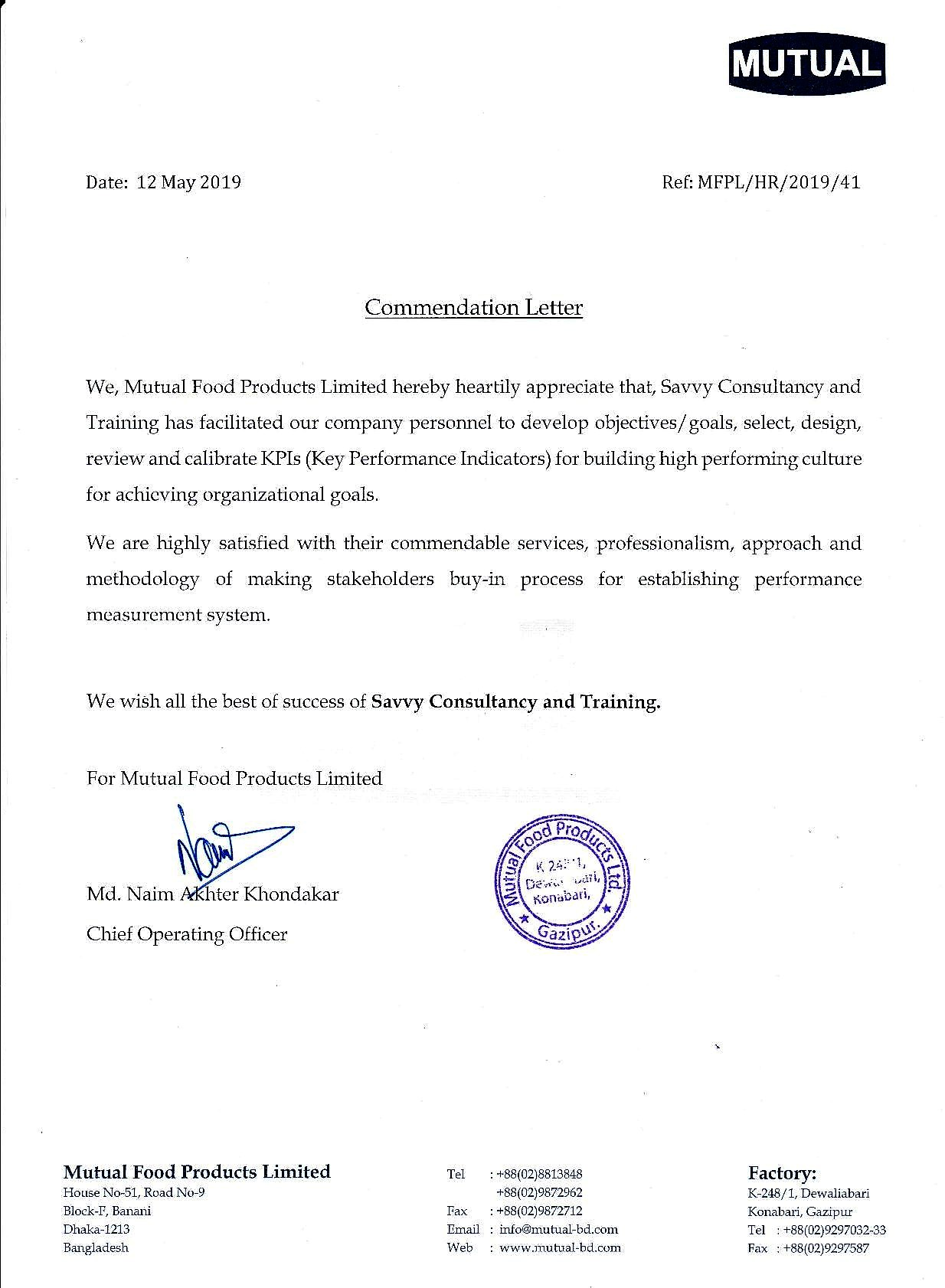 Commendation letter-Mutual Foods